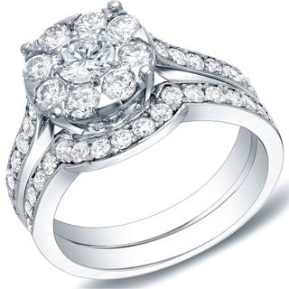 Auriya 14k Gold 1 3/5ct TDW Diamond Bridal Ring Set (H-I, SI1-SI2)