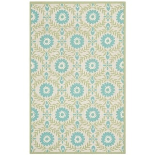 Isaac Mizrahi by Safavieh Wreath Floral Blue/ Creme Wool Rug (8' x 10')