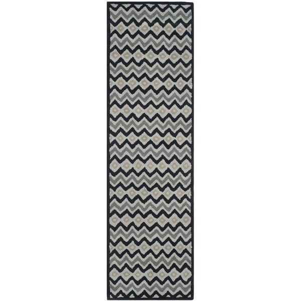 Isaac Mizrahi by Safavieh Black Cravat Grey/ Black Wool Rug (2'3 x 8')