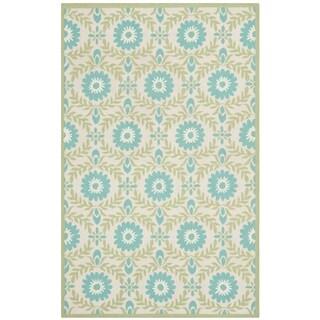 Isaac Mizrahi by Safavieh Wreath Floral Blue/ Creme Wool Rug (5' x 8')