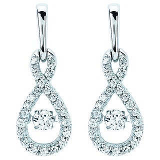 Boston Bay Diamonds Brilliance In Motion 14k White Gold 3/8ct TDW Diamond Teardrop Earrings (I-J, I1-I2)