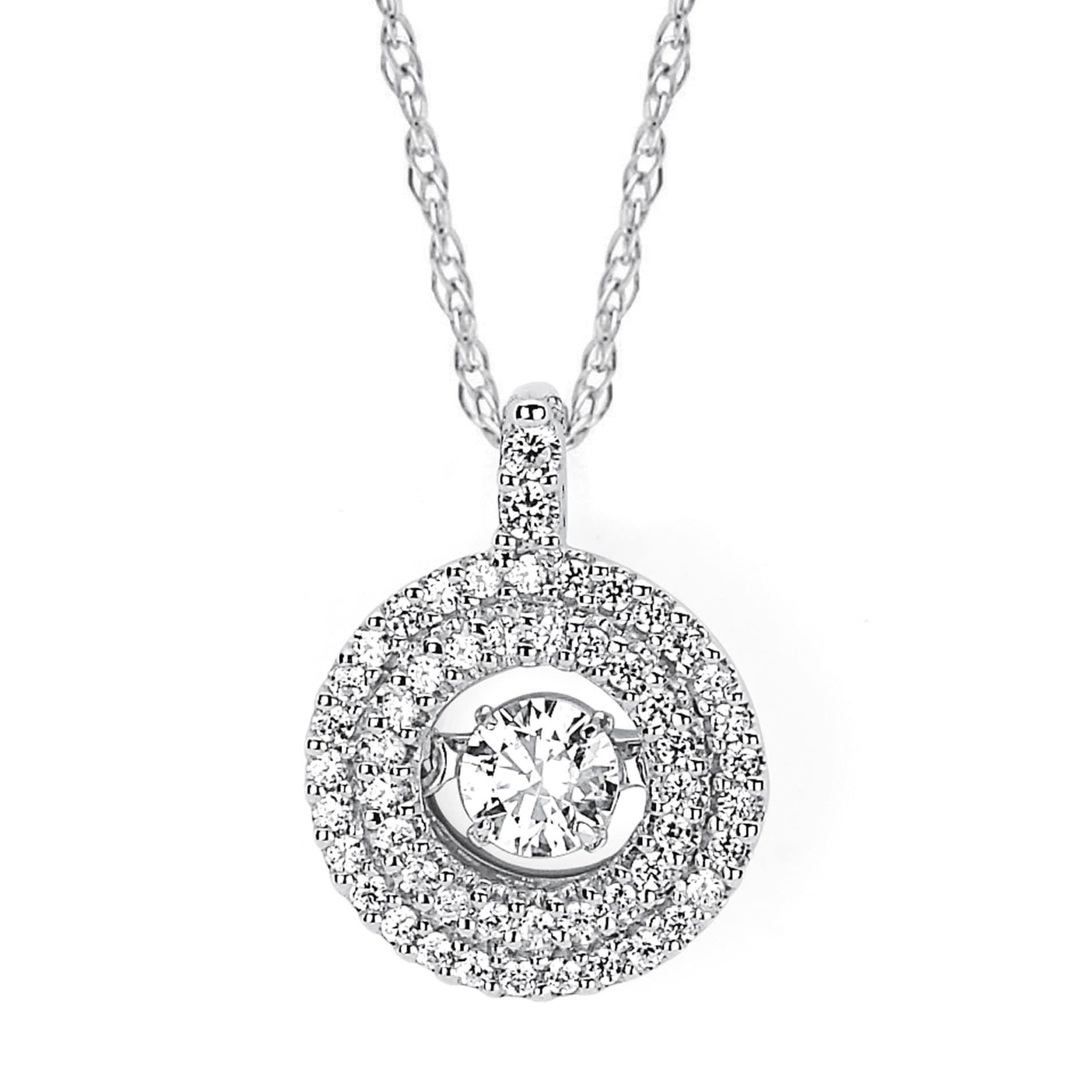 Boston Bay Diamonds Brilliance in Motion 14k White Hold 3/8ct TDW Floating Diamond Double Circle Necklace (I-J, I1-I2)