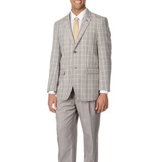 Stacy Adams Men's Turquoise Plaid 3-piece Vested Suit