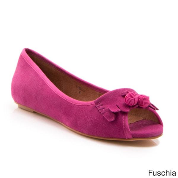 Women's Beth Suede Peep-Toe Slip-on Flats