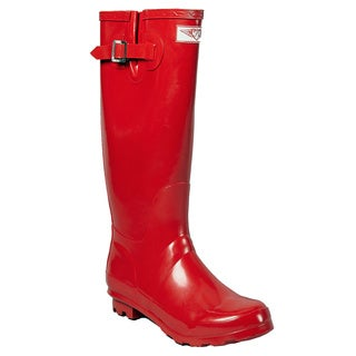 Women's Tall Red Print Style Rain Boots