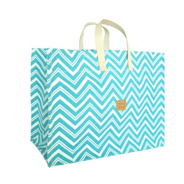 Color Dunes Zig-Zag Aqua Blue Super Tote Bag