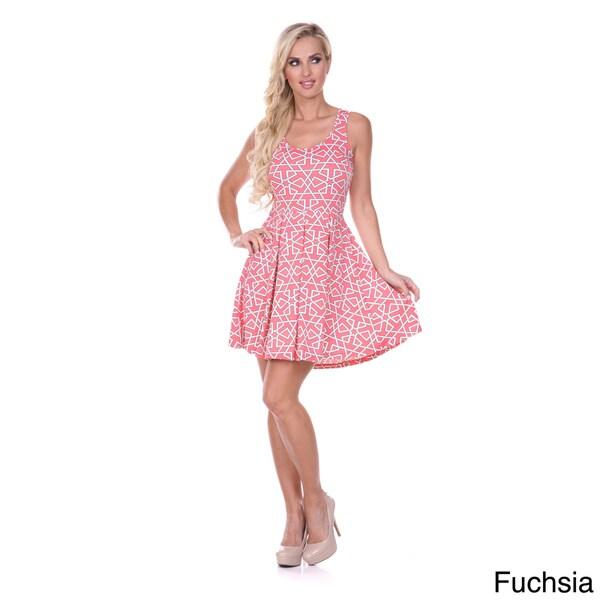 White Mark Women's Printed Sleeveless Skater Dress
