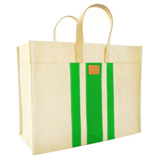 Color Dunes Classic Lime Green Stripe Tote Bag