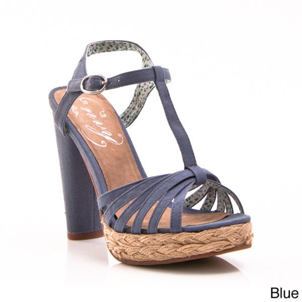 Women's 'Be Easy' Open Toe T-strap Espadrille Sandals