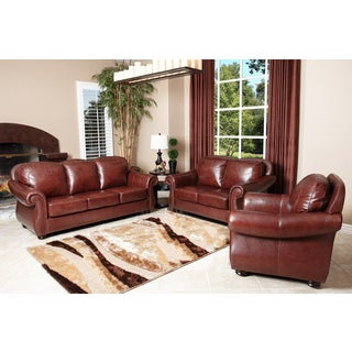 Abbyson Living 'Houston' Caramel Brown 3-piece Leather Sofa Set With Bonus Mirror