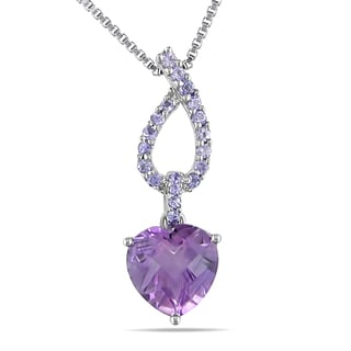 Miadora Sterling Silver 4ct TGW Amethyst and Tanzanite Heart Necklace
