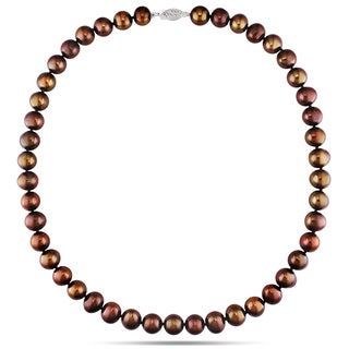 Miadora 14k White Gold Brown Pearl Necklace (9-10 mm) with Bonus Earrings