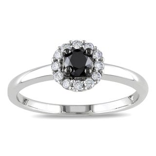 Haylee Jewels Sterling Silver 1/2ct TDW Black and White Diamond Halo Ring (H-I, I2-I3)
