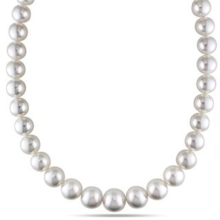 Miadora Signature Collection 14k Yellow Gold South Sea White Pearl/ Diamond Accent Necklace (14-16.5 mm)