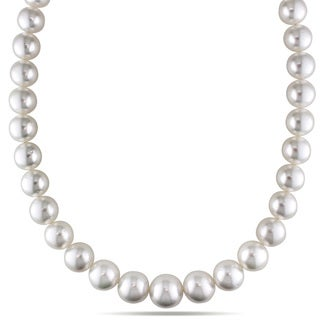 Miadora Signature Collection 14k Yellow Gold South Sea White Pearl and Diamond Necklace (12-14 mm)