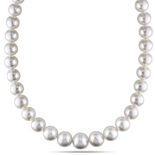 Miadora Signature Collection 14k Yellow Gold South Sea White Pearl and Diamond Necklace (11-14 mm)
