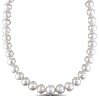 Miadora Signature Collection 14k Yellow Gold South Sea White Pearl and Diamond Accent Necklace (12-16 mm)