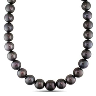 Miadora Signature Collection 14k White Gold Tahitian Pearl and Diamond Accent Necklace (14-17 mm)