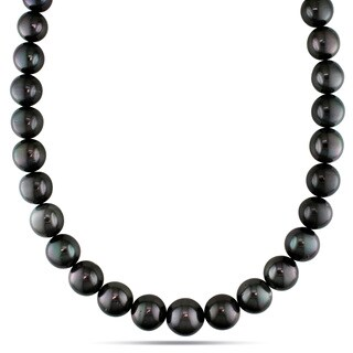 Miadora Signature Collection 14k White Gold Tahitian Pearl and Diamond Accent Necklace (13-15 mm)