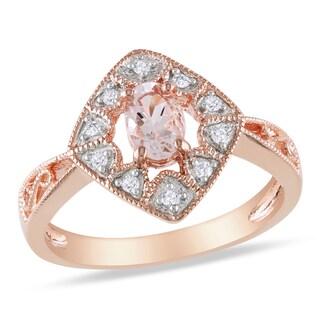 Miadora Rose Plated Silver Morganite and 1/10ct TDW Diamond Ring (H-I, I2-I3)