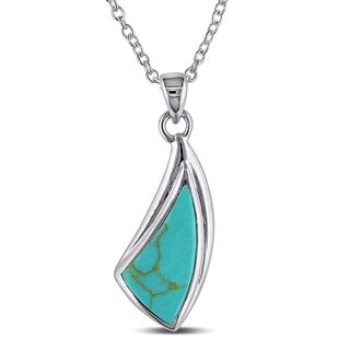 Miadora Sterling Silver Irregular Shaped Turquoise Necklace