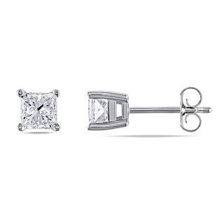 Miadora Signature Collection 14k White Gold 1ct TDW Certified Princess-cut Diamond Earrings (G-H, I1-I2) (IGL)