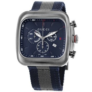 Gucci Men's YA131203 'Coupe' Blue Dial Blue-Grey-Blue Nylon Strap Chronograph Quartz Watch