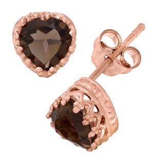 Gioelli Tiara Collection Rose Gold Over Silver Smoky Quartz Earrings