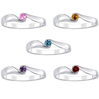 Sterling Silver Gemsonte Solitare Pollished Band Ring