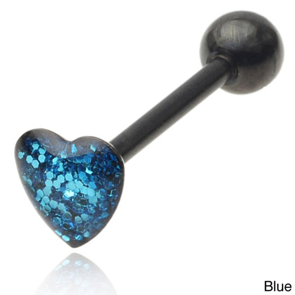 Mishbehave Stainless Steel Glitter Heart Tongue Ring