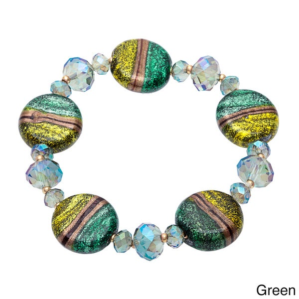 Alexa Starr Round glass stretch bracelet 12735181