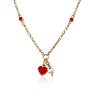 Little Miss Twin Stars 14k Goldplated Brass Children's Red Heart and Pearl Necklace