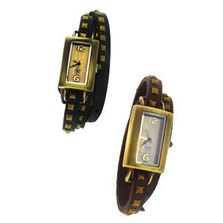 Moise Women's Leather Studded Wrap Band Rectangle Face Watch