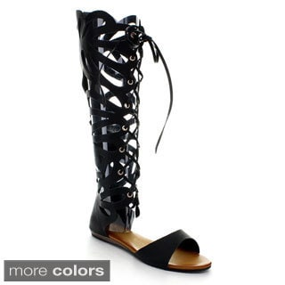 Refresh Women's ONGEE-06 Lace Up Gladiator Cage Sandals