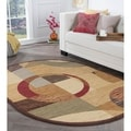 Rhythm 105110 Multi Contemporary Area Rug (6' 7 x 9' 6 Oval)