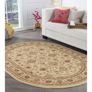 Rhythm 105142 Beige Traditional Area Rug (6' 7 x 9' 6 Oval)