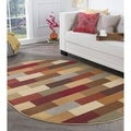 Rhythm 105180 Multi Contemporary Area Rug (5' 3 x 7' 3 Oval)