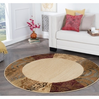 Rhythm 105202 Beige Transitional Area Rug (7'10 Round)