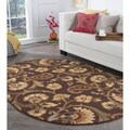 Alise Rhythm Brown Transitional Oval Area Rug (6'7 x 9'6 Oval)