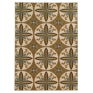 Loop Pile Casual Floral Tan/ Ivory Nylon Rug (6'7 x 9'3)