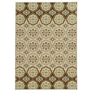 Loop Pile Casual Floral Ivory/ Tan Nylon Rug (6'7 x 9'3)