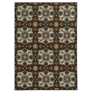 Loop Pile Casual Floral Brown/ Blue Nylon Rug (3'3 x 5'5)