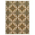 Loop Pile Casual Floral Tan/ Ivory Nylon Rug (3'3 x 5'5)