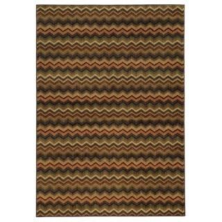 Geometric Chevron Brown/ Multi Rug (3'3 x 5'5)