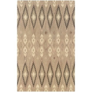 Ikat Pattern Hand-made Beige/ Ivory Rug