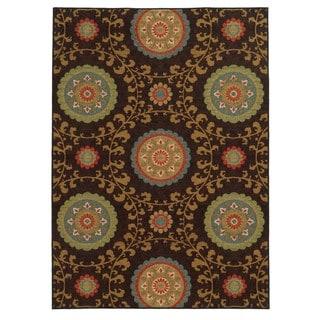 Loop Pile Over Scale Floral Brown/ Multi Nylon Rug (5'3 x 7'3)