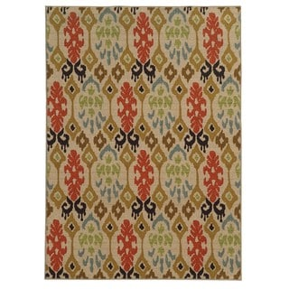 Loop Pile Ikat Design Beige/ Multi Nylon Rug (5'3 x 7'3)