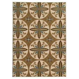 Loop Pile Casual Floral Tan/ Ivory Nylon Rug (5'3 x 7'3)