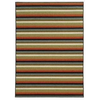 Loop Pile Casual Stripe Multi Nylon Rug (5'3 x 7'3)