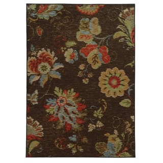 Loop Pile Ikat Floral Brown/ Multi Nylon Rug (5'3 x 7'3)